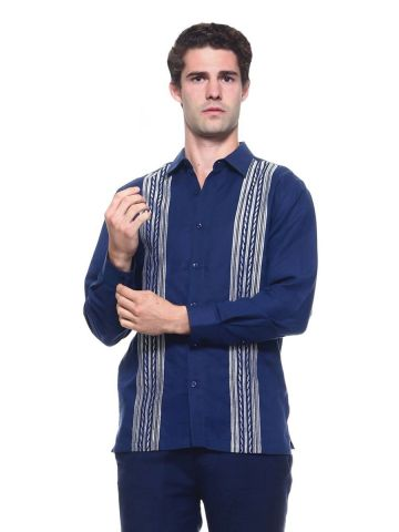 Men's Linen Blend Embroidered Long Sleeve Shirt