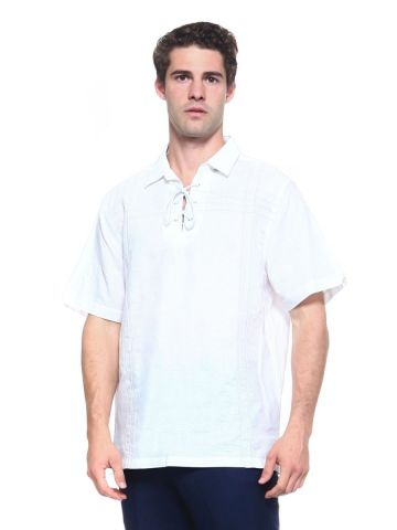 Men's Linen Blend Embroidered Front Design Lace Up Neckline Short Sleeve Lounge Shirt