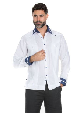 Men's Stylish 100% Linen Guayabera Shirt Long Sleeve
