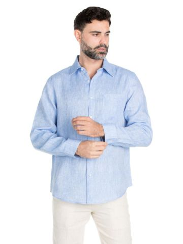 Men's Classic Resort Wear 100% Linen Long Sleeve Shirt