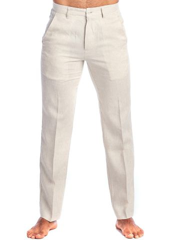 Men's Resort Casual 100% Linen Flat front Dress Pants