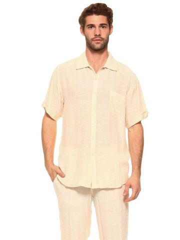 Men's Casual Short Sleeve Button Down Shirt