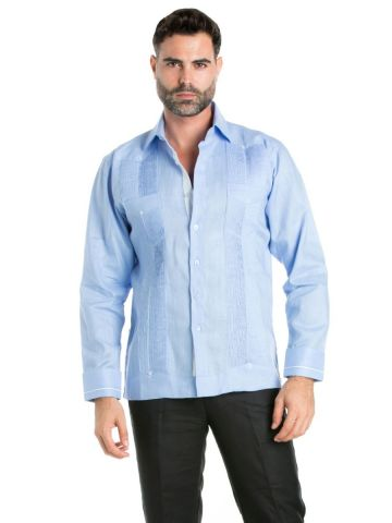 Linen Shirt Guayabera Long Sleeve Button Down with Piping Collar and Cuff Trim