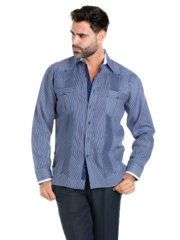 Linen Guayabera Shirt Pinstripe Print Long Sleeve Button Down