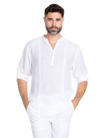 Big & Tall Men's Mandarin Collar Beachwear Button Up Pin Tuck Roll Up Sleeve Shirt