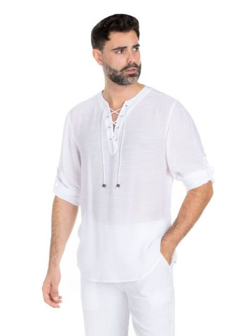 Men's Casual Beachwear Lace Up Collar Roll Up Sleeve Shirt