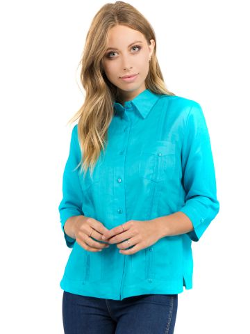 Women's Traditional Guayabera Shirt Premium 100% Linen 3/4 Sleeves 4 Pocket Design XS-XL