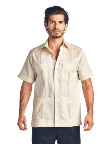Men's Traditional Linen Guayabera Shirt Short Sleeve