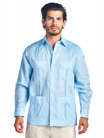 Long Sleeve Guayabera - Poly/Cotton