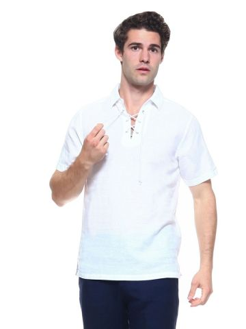 Men's Linen Blend Lace Up Neckline Short Sleeve Lounge Shirt