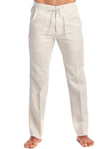 Men's Resort Wear Casual 100% Linen Drawstring Pants