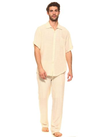Men's Beachwear 2 Piece Set Short Sleeve Button Down Shirt and Drawstring Pant