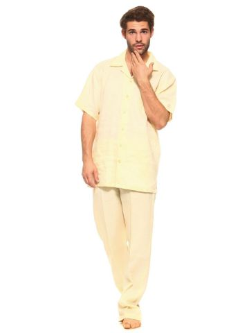 Big and Tall Men's Linen Shirt and Pant Set