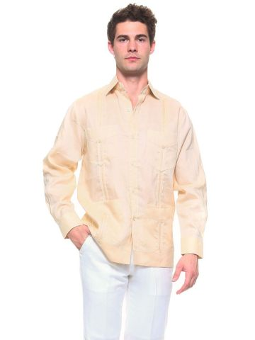 Genuine Mojito Signature Collection 100% Linen Classic Guayabera Shirt 4 Pocket Long Sleeve