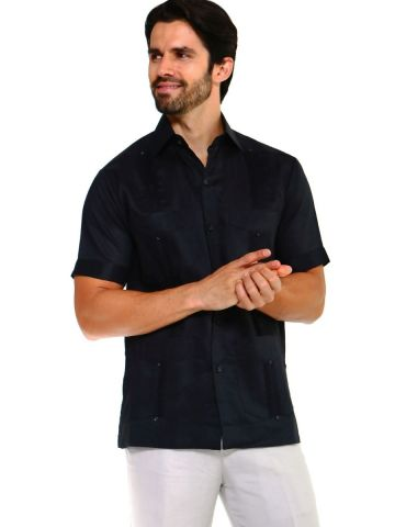 Wholesale Men's Guayabera Shirt Short Sleeve Classic Cotton Blend