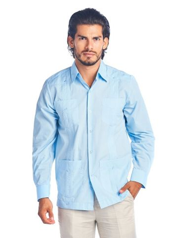 Men's Guayabera Shirt Button Down Long Sleeve Solid Color Soft Cotton Blend Chacabana